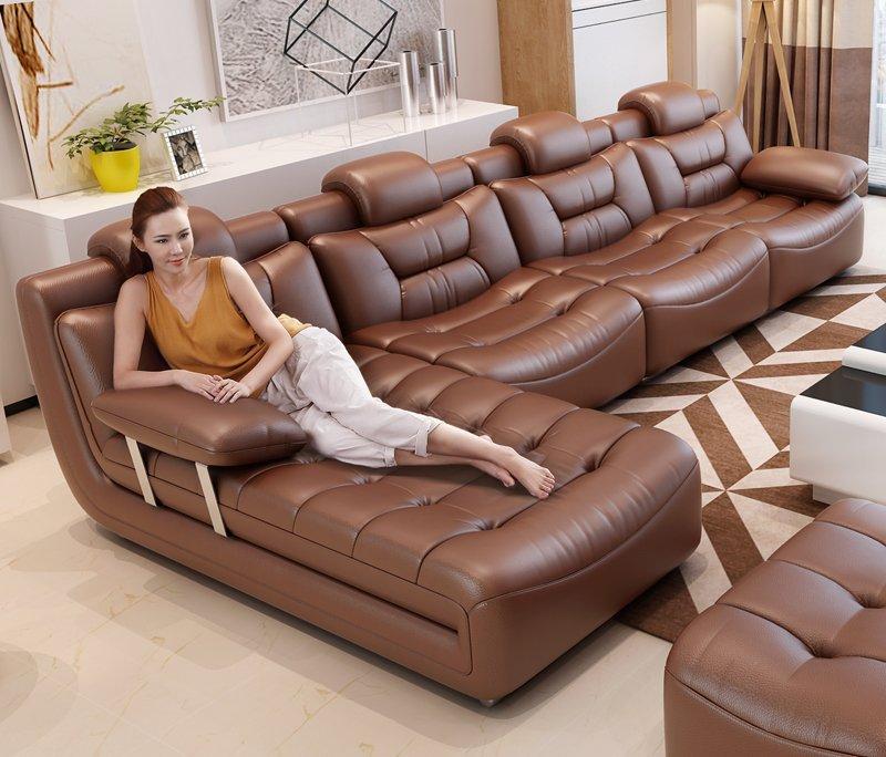 Bộ ghế sofa bọc da hiện đại cao cấp sang trọng SF001 màu nâu