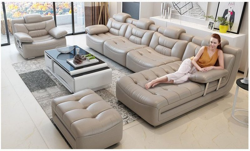 Bộ ghế sofa bọc da hiện đại cao cấp sang trọng SF001 6