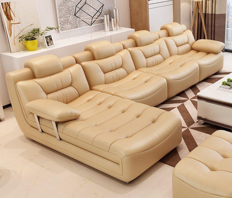 Bộ ghế sofa bọc da hiện đại cao cấp sang trọng SF001 màu kem