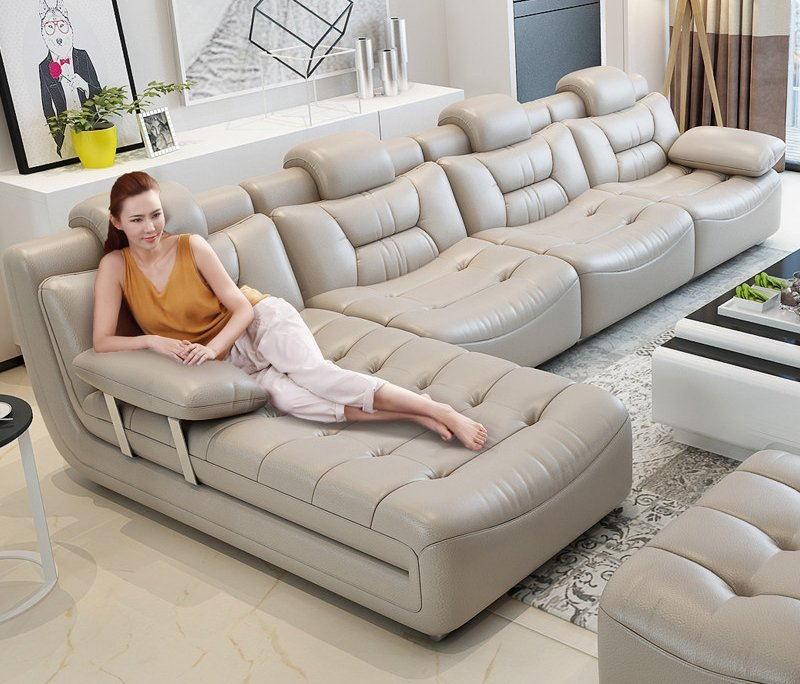 Bộ ghế sofa bọc da hiện đại cao cấp sang trọng SF001 màu trắng