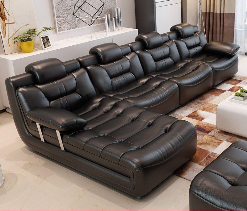 Bộ ghế sofa bọc da hiện đại cao cấp sang trọng SF001 màu đen