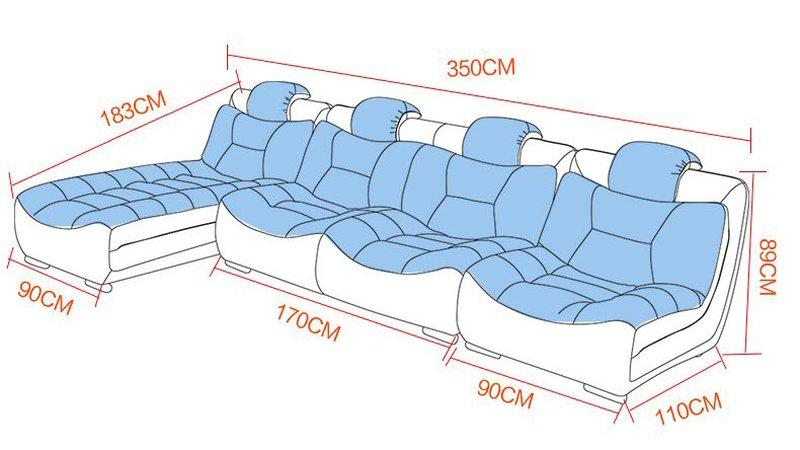 Kích cỡ phủ bì mẫu sofa phòng khách SF001