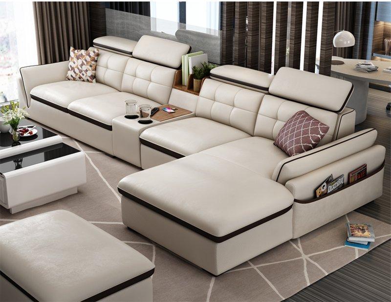 Bộ ghế sofa hiện đại góc chữ L đẹp SF002 màu bạc