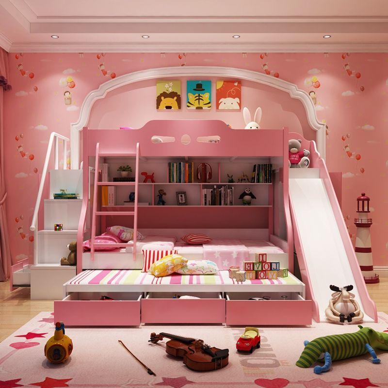 Giường tầng đa năng cho bé GTE044 có cầu thang, giường phụ, cầu trượt và ngăn kéo màu hồng