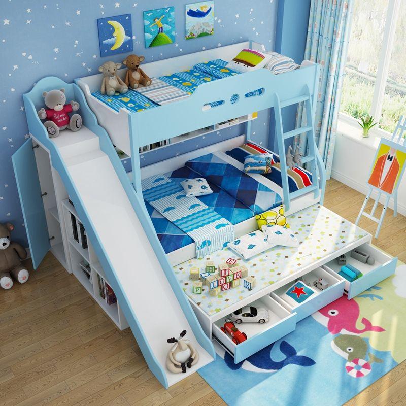 Giường tầng đa năng cho bé GTE044 có giường phụ, cầu trượt và ngăn kéo màu xanh nước biển