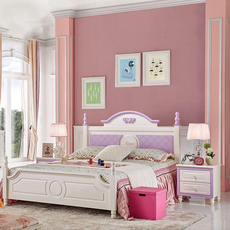 Giường cho bé màu trắng, đầu giường sơn màu tím GTE005-1