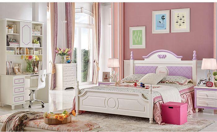 Bộ nội thất cho bé màu trắng, đầu giường sơn màu tím GTE005-4