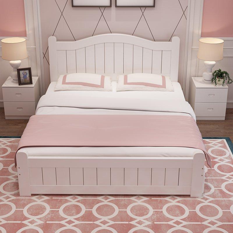 Giường trẻ em bằng gỗ đẹp GTE022 màu trắng