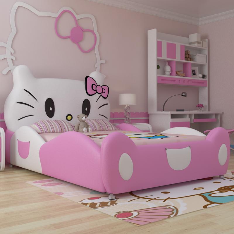 Giường cho bé gái hình chú mèo Hello Kitty GTE011 màu hồng