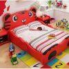 Mẫu giường ngủ trẻ em hình chú hổ siêu dễ thương GTE031 màu đỏ