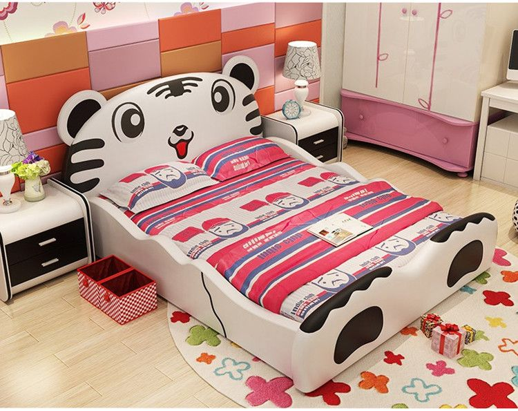 Mẫu giường ngủ trẻ em hình chú hổ siêu dễ thương GTE031 màu trắng