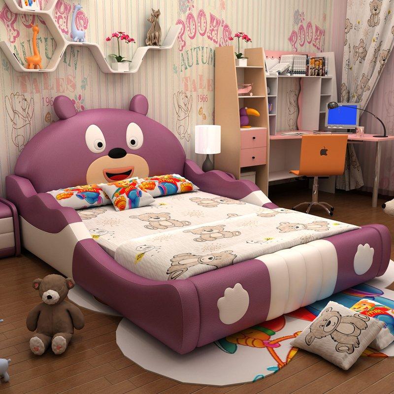 Giường trẻ em hình con gấu dễ thương GTE026 màu tím