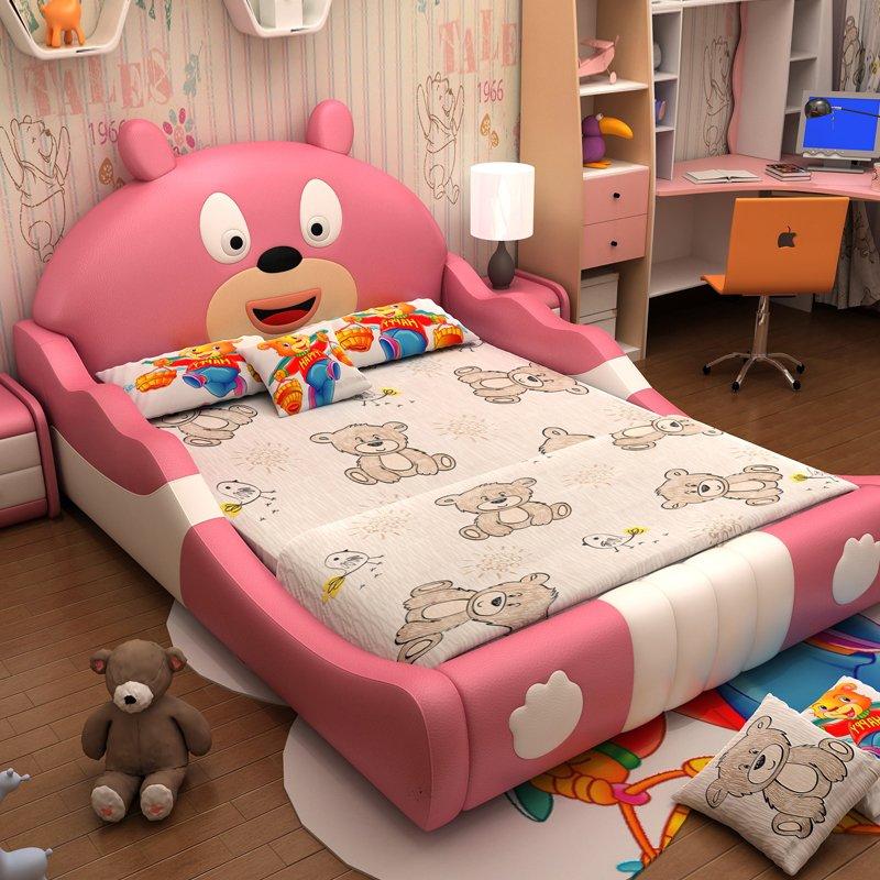 Giường trẻ em hình con gấu dễ thương GTE026 màu hồng