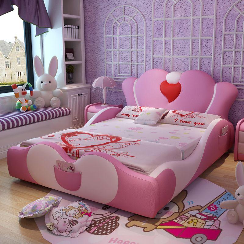 Mẫu giường ngủ công chúa màu hồng bọc da GTE014