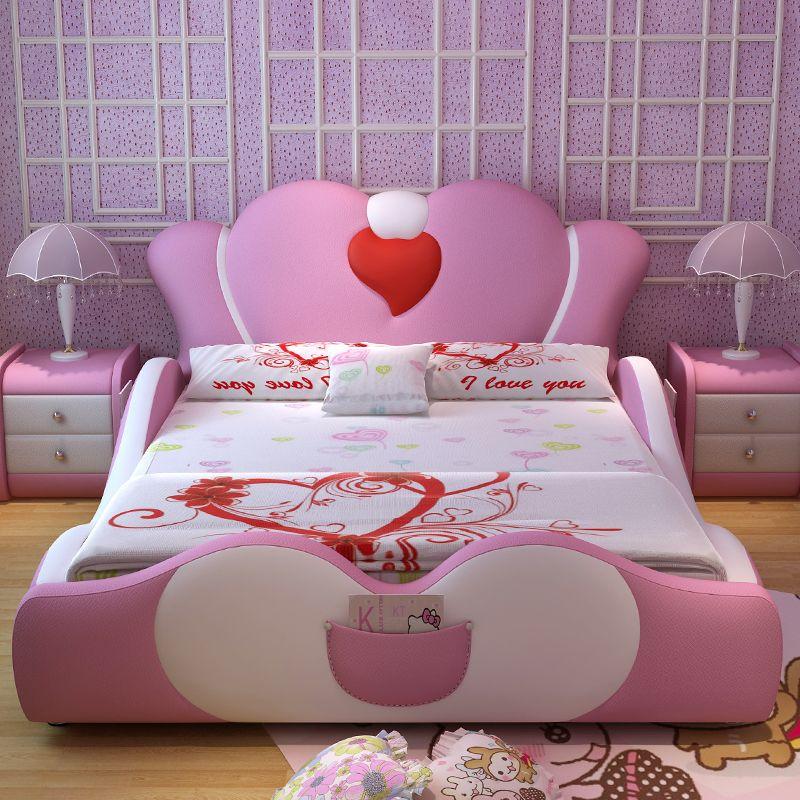 Mẫu giường ngủ công chúa màu hồng bọc da GTE014 2