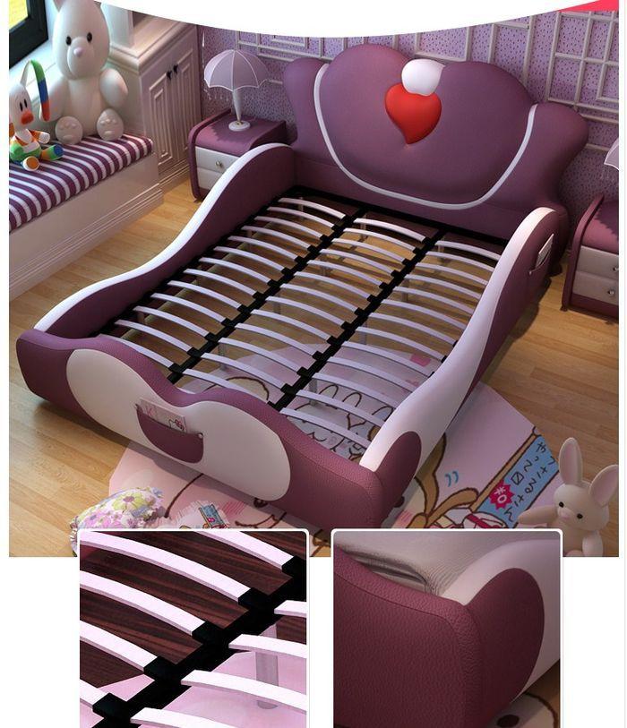 Mẫu giường ngủ công chúa màu hồng bọc da GTE014 5