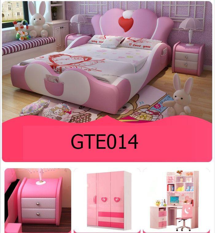 Mẫu giường ngủ công chúa màu hồng bọc da GTE014 7