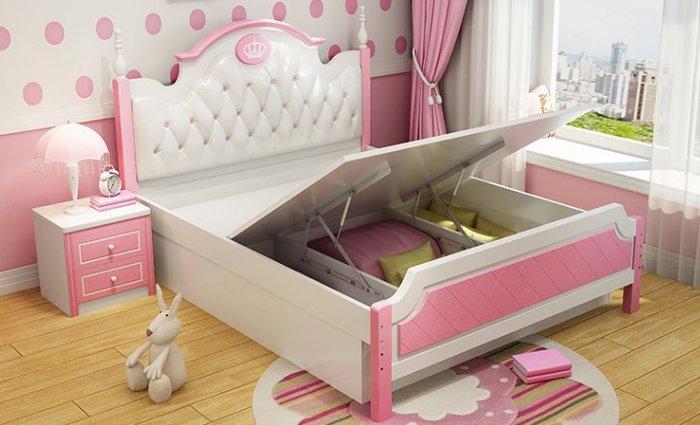 Mẫu giường công chúa đầu giường bọc da GTE023 có ngăn gấp chứa đồ