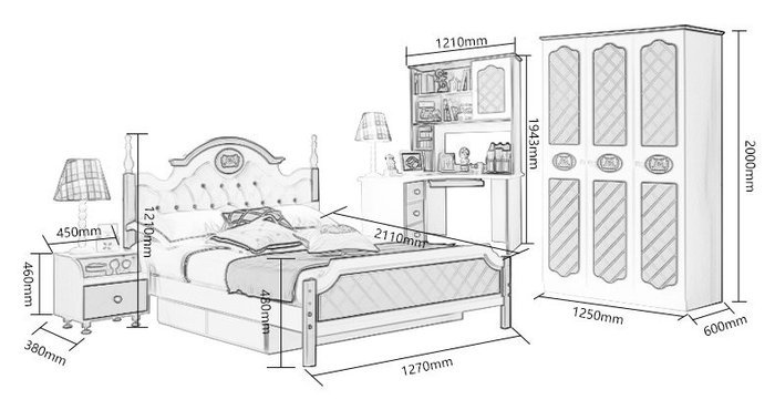 Kích cỡ bộ nội thất trẻ em 023