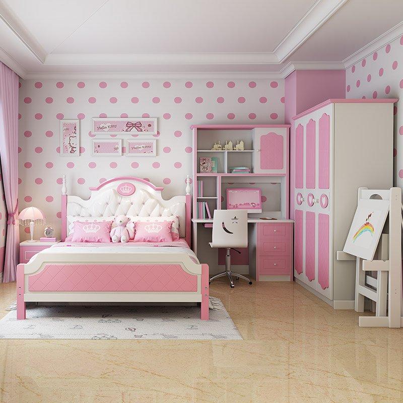 Mẫu thiết kế nội thất trẻ em đẹp 023 màu hồng