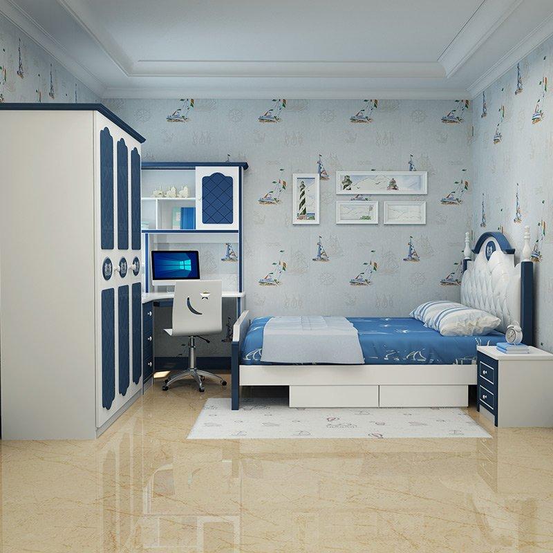 Mẫu thiết kế nội thất trẻ em đẹp 023 màu xanh