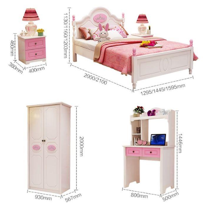 Kích cỡ Các sản phẩm trong mẫu nội thất công chúa cho bé gái GTE008
