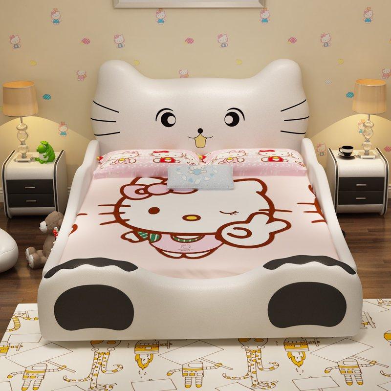 Giường công chúa kiểu con mèo Hello Kitty GTE018 màu trắng