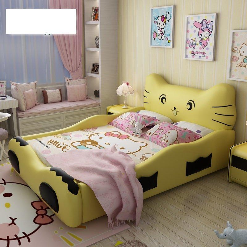 Giường công chúa kiểu con mèo Hello Kitty GTE018 màu vàng