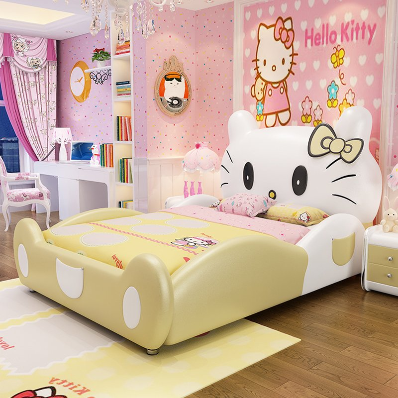 Giường hello kitty trẻ em GTE011 màu vàng