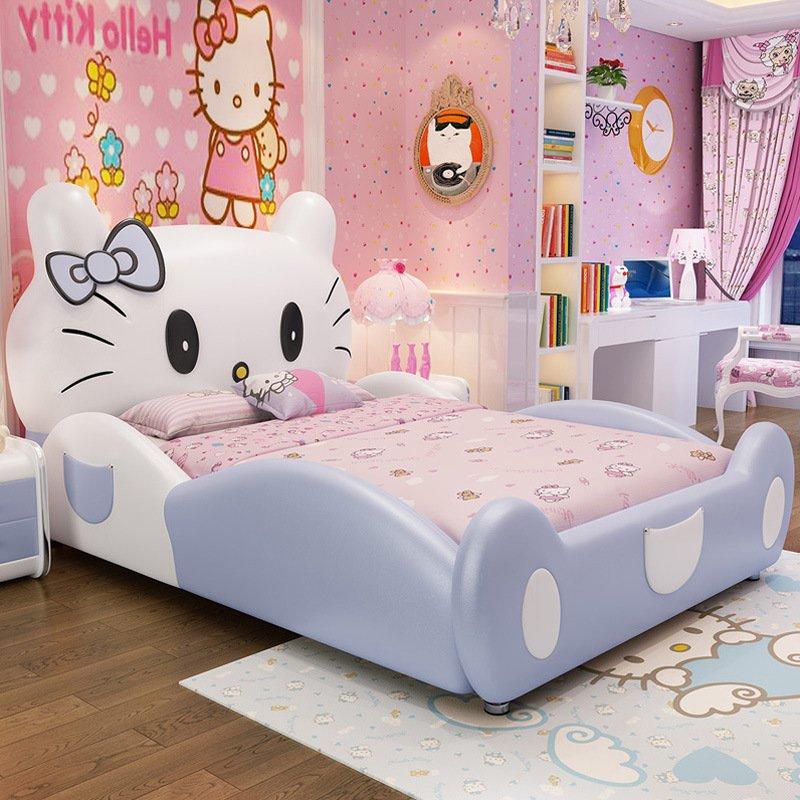 Giường hello kitty trẻ em GTE011 màu xám