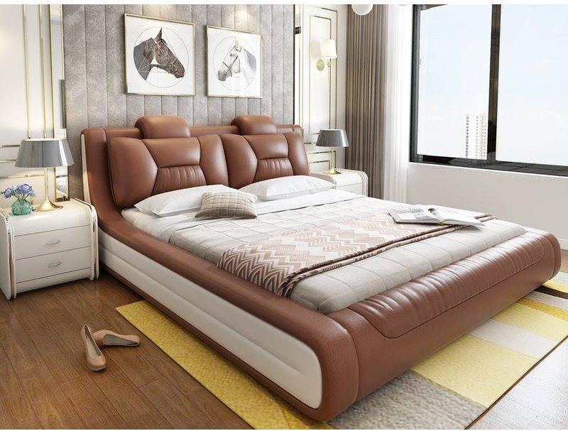 Giường hiện đại bọc da cao cấp sang trọng GN006 màu nâu