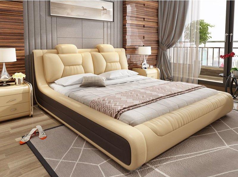 Giường hiện đại bọc da cao cấp sang trọng GN006 màu vàng kem