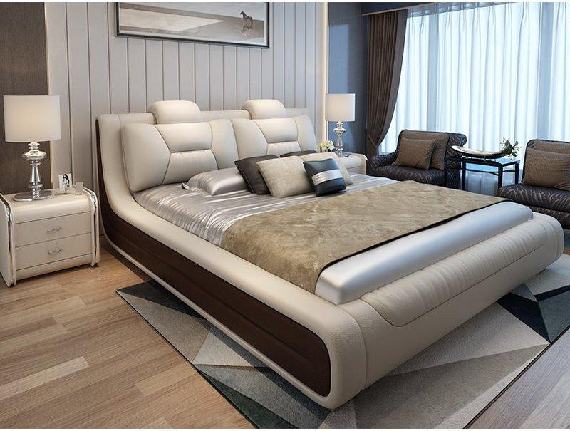 Giường hiện đại bọc da cao cấp sang trọng GN006 màu xám