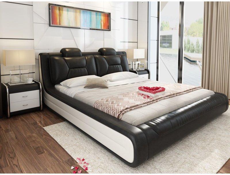Giường hiện đại bọc da cao cấp sang trọng GN006 màu đen