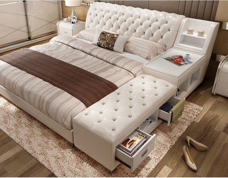 Giường tatami kiểu nhật bọc da có ngăn kéo GN008 màu trắng