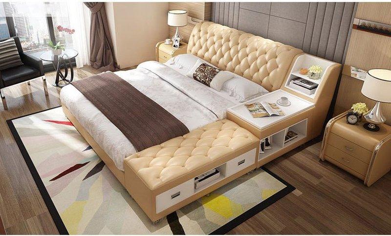 Giường tatami kiểu nhật bọc da có ngăn kéo GN008 màu kem