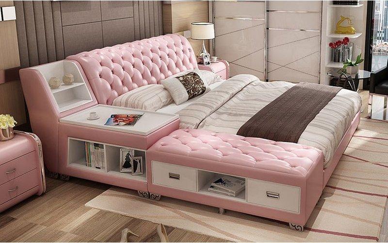 Giường tatami kiểu nhật bọc da có ngăn kéo GN008 màu hồng