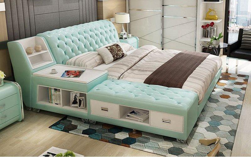 Giường tatami kiểu nhật bọc da có ngăn kéo GN008 màu xanh nước biển