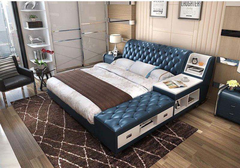 Giường tatami kiểu nhật bọc da có ngăn kéo GN008 xanh da trời