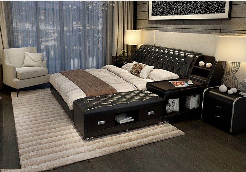Giường tatami kiểu nhật bọc da có ngăn kéo GN008 đen