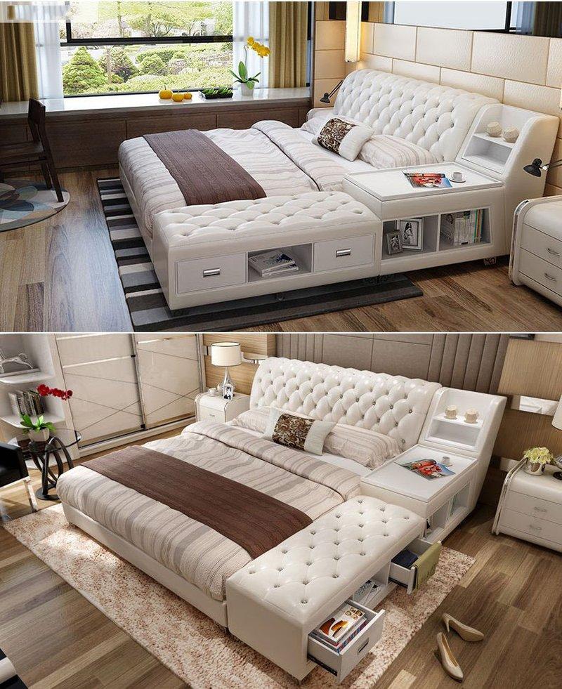 Giường tatami kiểu nhật bọc da có ngăn kéo GN008 7