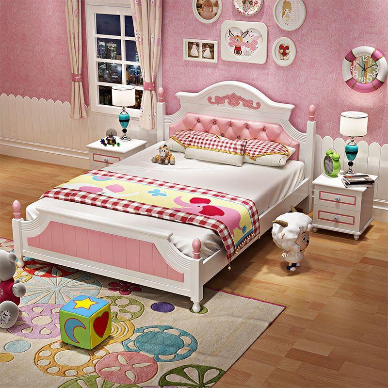 Giường ngủ công chúa màu hồng cao cấp GTE021