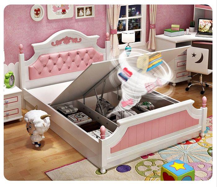 Giường ngủ công chúa màu hồng cao cấp GTE021 có ngăn gấp chứa đồ