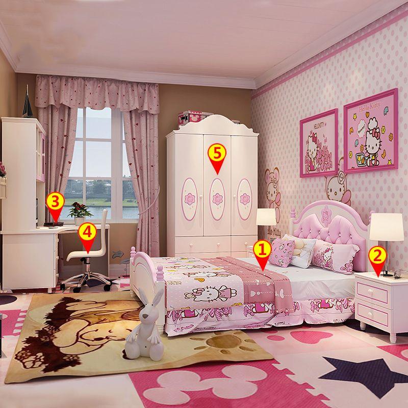 Giường ngủ cho bé đầu giường bọc da đẹp GTE004