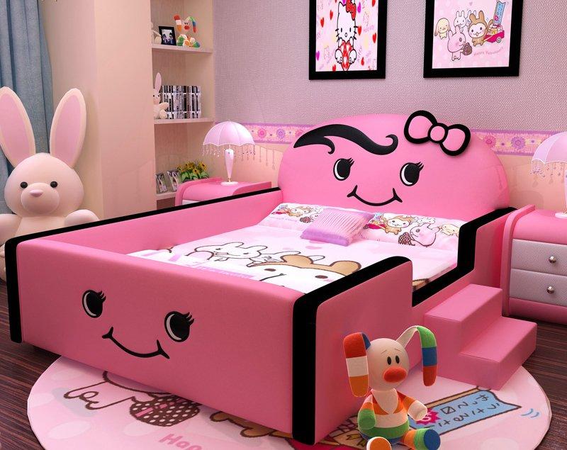 Mẫu giường ngủ cho bé gái hình mặt cười dễ thương GTE019