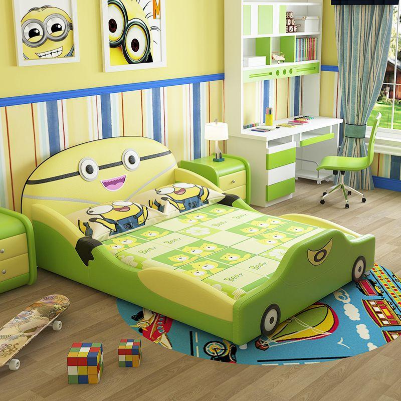 Mẫu giường ngủ trẻ em đẹp kiểu hoạt hình GTE015 màu xanh lá cây