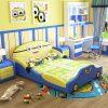 Mẫu giường ngủ trẻ em đẹp kiểu hoạt hình GTE015 màu xanh nước biển