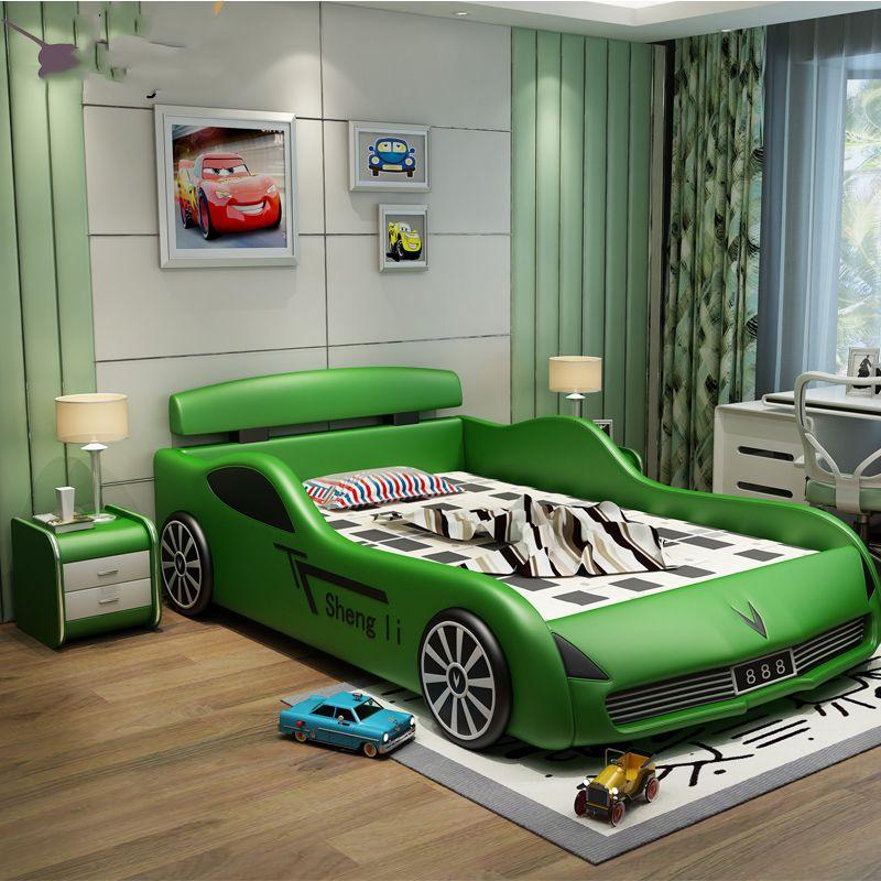 Giường ngủ ô tô thể thao bọc da cho bé trai GTE034 màu xanh