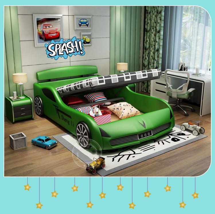 Giường ngủ ô tô thể thao bọc da cho bé trai GTE034 màu xanh có ngăn gấp