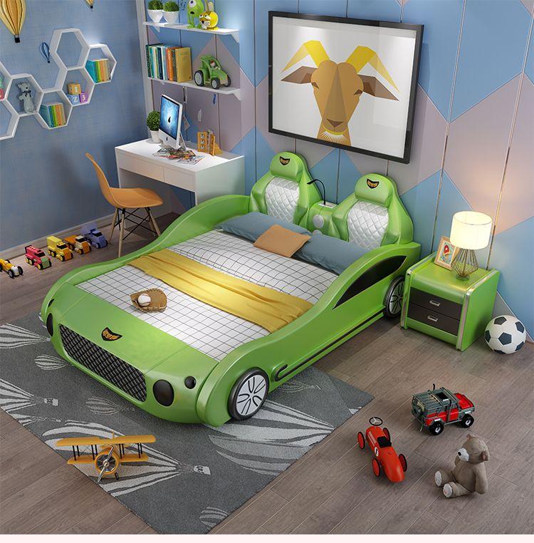 Mẫu giường ngủ ô tô thể thao đa tính năng cho bé GTE041 màu xanh lá cây